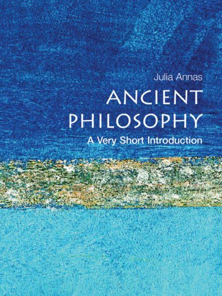 Ancient Philosophy  A Very Short Introduction Book Cover with light blue painting in the background