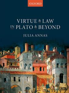 Virtue and Law in Plato and Beyond book cover with the painting 'Peaceful City' by Ambrogio Lorenzetti in the background